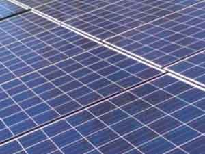 Close up view of residential solar panel.