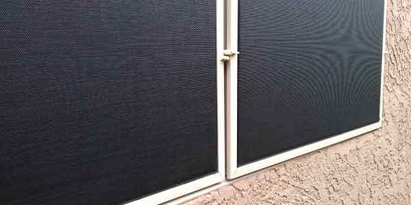 Black sun screen panels with almond frame.