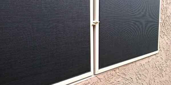 Black sun screen panels with almond frame.