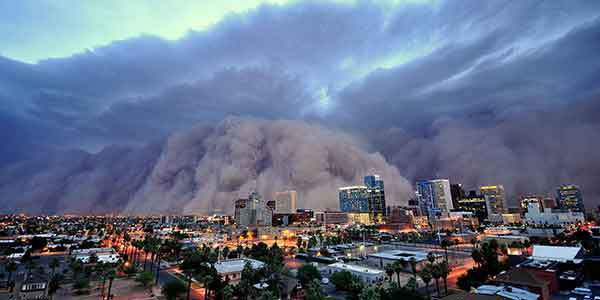 Large dust cloud approaching downtown Phoenix.