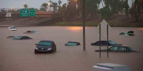 Phoenix freeway flooded with chest deep water.
