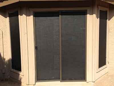 Sun screen patio slider door.