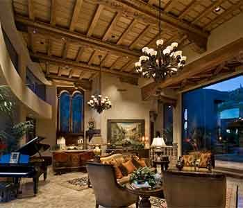 Inside living room windows of a luxury home in Scottsdale Arizona