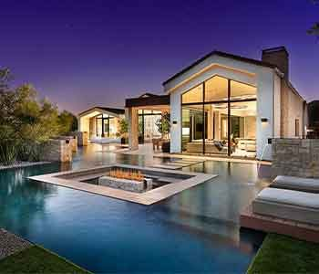 Luxury backyard with pool and fire pit Paradise Valley. Residential window cleaning.